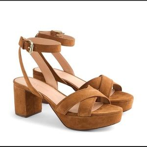 JCrew Cross Strap Suede Platform Sandals